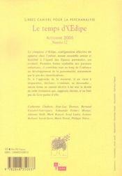 Libres cahiers pour la psychanalyse 2005 n 12 le temps d'oedip - 4ème de couverture - Format classique