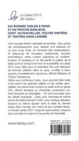 Le guide Lebey des restaurants de Paris et sa banlieue (édition 2012) - 4ème de couverture - Format classique
