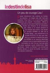 Le destin de Lisa t.8 ; un peu de courage de Lisa - 4ème de couverture - Format classique