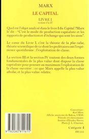 Capital - livre i - sections i a iv t1 (le) - 4ème de couverture - Format classique
