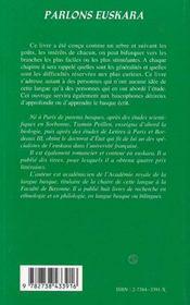 Parlons euskara - la langue des basques - 4ème de couverture - Format classique