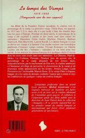 Le Temps Des Vamps, 1915-1965 - 4ème de couverture - Format classique