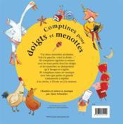 Comptines pour doigts et menottes - 4ème de couverture - Format classique