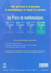 Precis de maths hec ; analyse t.1 option scientifique - 4ème de couverture - Format classique