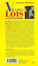 Vraies Lois De L'Economie (Les) - 4ème de couverture - Format classique
