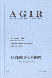 Revue Agir N.5 ; La Crise De L'Europe - Intérieur - Format classique