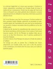 Qcm De Physique Tome 2 Ondes Optique Pcsi-Mpsi-Ptsi-Pc-Pc*-Mp-Mp*-Psi-Psi*-Pt-Pt* - 4ème de couverture - Format classique