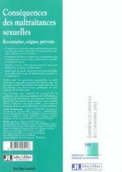 Consequences Des Maltraitances Sexuellesreconnaitre, Soigner, Prevenir - 4ème de couverture - Format classique