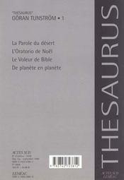 Thesaurus Goran Tunstrom - Oeuvres Romanesques.1 - 4ème de couverture - Format classique