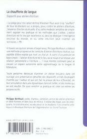La chaufferie de langue dispositifs pour ateliers d'ecriture - 4ème de couverture - Format classique