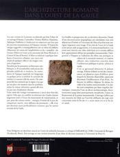 L'architecture romaine dans l'ouest de la gaule ; les monuments et leur décor dans les cités des osisme - 4ème de couverture - Format classique
