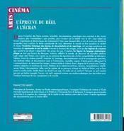 L'epreuve du reel a l'ecran essai sur le principe de realite docum. - 4ème de couverture - Format classique
