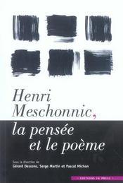 Henri Meschonnic, La Pensee Et Le Poeme - Intérieur - Format classique