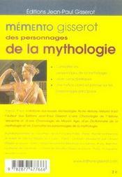 Memento Gisserot Des Personnages De La Mythologie - 4ème de couverture - Format classique