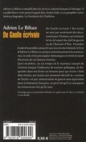 De Gaulle écrivain - 4ème de couverture - Format classique