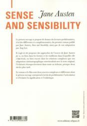 Jane austen. sense and sensibility - 4ème de couverture - Format classique
