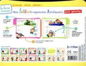 Les livres-ardoises ; mes lettres rugueuses Montessori pour gaucher ; 3/6 ans - 4ème de couverture - Format classique