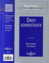 Droit administratif (7e édition) - 4ème de couverture - Format classique