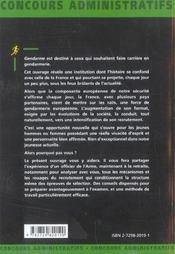 Gendarme Presentation Et Historique De La Gendarmerie Preparation A L'Entretien Categorie C - 4ème de couverture - Format classique
