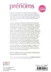 L'Officiel Des Prenoms (Edition 2008) - 4ème de couverture - Format classique