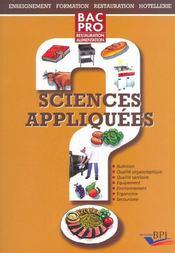 Sciences Appliquees Bnac ; Restauration Alimentation - Intérieur - Format classique