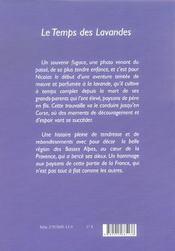 Le Temps Des Lavandes - 4ème de couverture - Format classique