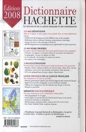 Dictionnaire Hachette (Edition 2008) - 4ème de couverture - Format classique