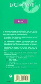 Le Guide Vert T.544 ; Maroc - 4ème de couverture - Format classique