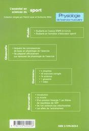 Physiologie De L'Exercice Musculaire Licences Staps Educateurs Sportifs Cours Et Exercices Corriges - 4ème de couverture - Format classique