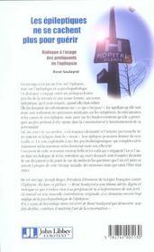 Les Epileptiques Ne Se Cachent Plus Pourguerrir-Dialogue A Usage Des Pratiquant - 4ème de couverture - Format classique