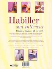 Habiller Son Interieur - Rideaux, Coussins Et Fauteuils - 4ème de couverture - Format classique