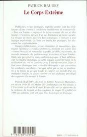 Corps (Baudry) Extreme Approche Sociologique Des Conduites - 4ème de couverture - Format classique