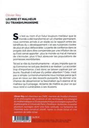 Leurre et malheur du transhumanisme - 4ème de couverture - Format classique