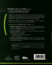 Regards sur la terre 2008 ; l'annuel du développement durable ; biodiversité - nature et développement - 4ème de couverture - Format classique