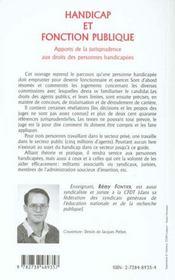Handicap Et Fonction Publique ; Apports De La Jurisprudence Aux Droits Des Personnes Handicapees - 4ème de couverture - Format classique