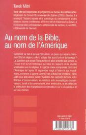 Au Nom De La Bible, Au Nom De L'Amerique - 4ème de couverture - Format classique