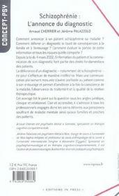 Schizophrenie : L'Annonce Du Diagnostic - 4ème de couverture - Format classique
