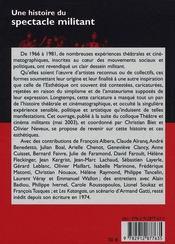 Une histoire du spectacle militant (1966-1980) - 4ème de couverture - Format classique