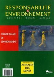 Revue Responsabilite & Environnement ; L'Homme Malade De L'Environnement ? - Couverture - Format classique
