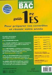 Objectif Bac ; Guide ; 1ère Es - 4ème de couverture - Format classique