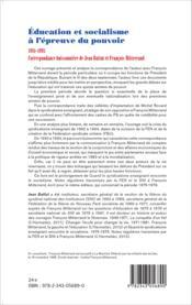 Éducation et socialisme à l'épreuve du pouvoir ; 1981-1995 ; correspondance buissonnière de Jean Battut et François Mitterrand - Couverture - Format classique
