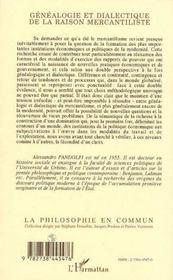 Genealogie Et Dialectique De La Raison Mercantiliste - 4ème de couverture - Format classique