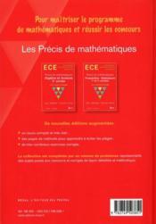 Précis de mathématiques ECE ; algèbre et analyse, 2e année - 4ème de couverture - Format classique