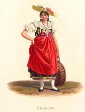 Lucerne - Jeune femme 3/4 à droite la tête de face. Grand tablier rouge. Costumes Suisses par G. Lory fils et F.-W. Moritz - Couverture - Format classique