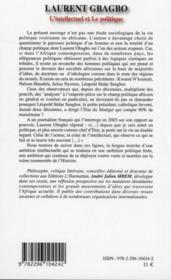 Laurent Gbagbo ; l'intellectuel et le politique - 4ème de couverture - Format classique