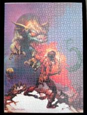 Guerrier contre un dragon. Puzzle - Couverture - Format classique