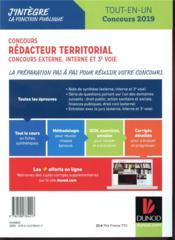 Concours rédacteur territorial ; externe, interne et 3e voie. tout en un ; concours (édition 2019) - 4ème de couverture - Format classique
