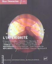 Revue Rue Descartes T.43 ; L'Intériorité (édition 2004) - Intérieur - Format classique
