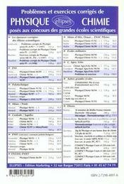 Problemes Corriges De Chimie Centrale/Supelec Mines/Ponts Tome 4 1995-1997 - 4ème de couverture - Format classique