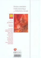 Decision Et Evaluation Medico-Economiquedu Medicament En Europe - 4ème de couverture - Format classique